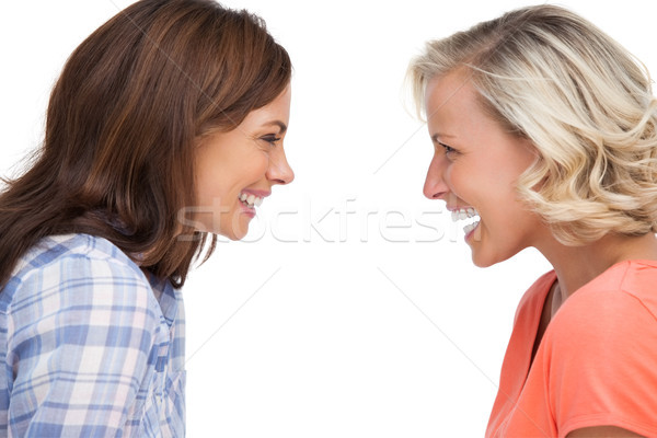 Stock photo: Two friends looking to each other and laughing