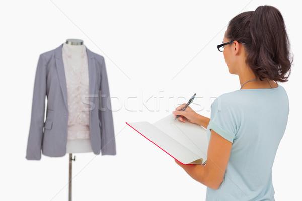 ストックフォト: デザイナー · 見える · マネキン · メモを取る · 白 · ファッション