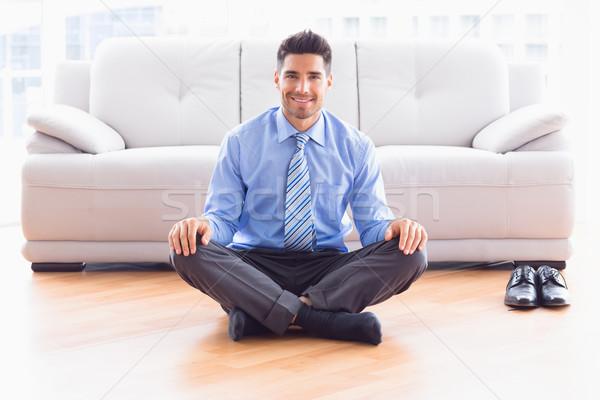 Jóképű üzletember ül lótusz póz padló Stock fotó © wavebreak_media