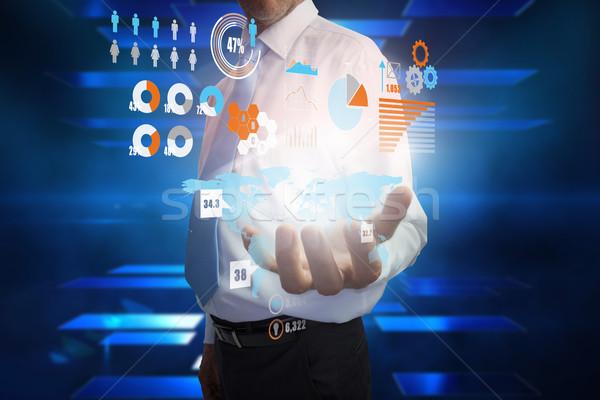 Stockfoto: Zakenman · presenteren · interface · digitale · composiet · hand · ontwerp