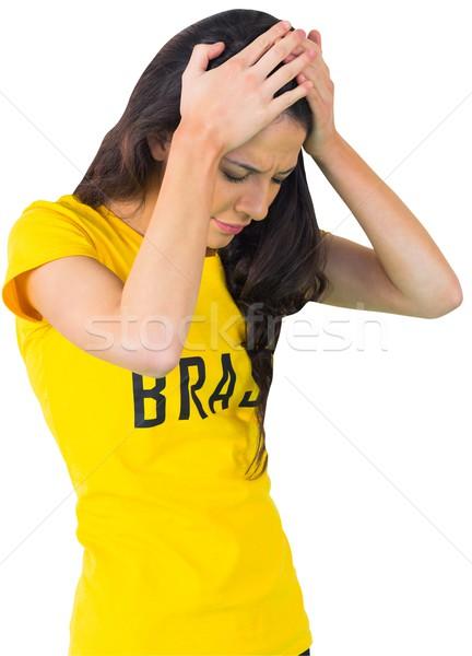 Decepcionado fútbol ventilador brasil camiseta blanco Foto stock © wavebreak_media
