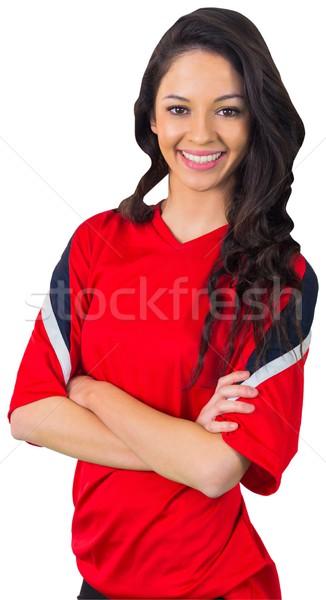 Pretty football fan in red Stock photo © wavebreak_media
