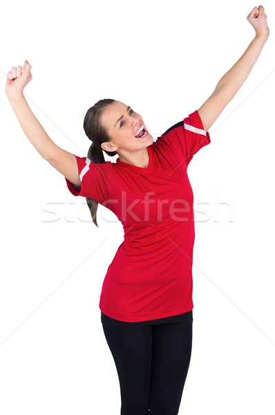 Excité football fan rouge blanche Photo stock © wavebreak_media