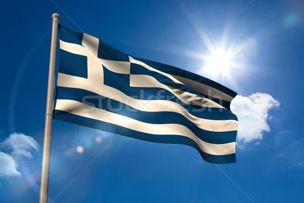 Греция флаг флагшток Blue Sky солнце свет Сток-фото © wavebreak_media