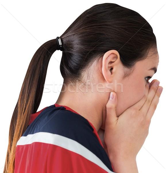 Nervoso futebol ventilador olhando à frente branco Foto stock © wavebreak_media