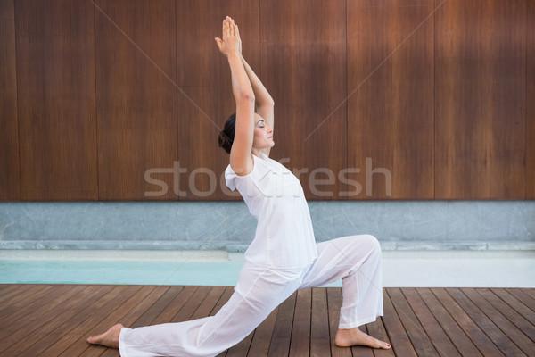Tartalom barna hajú fehér tai chi gyógyfürdő test Stock fotó © wavebreak_media