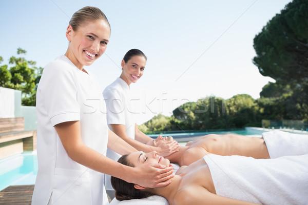 Tartalom pár élvezi fej kívül fürdő Stock fotó © wavebreak_media