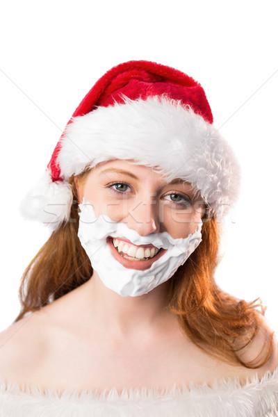 ünnepi vörös hajú nő hab szakáll fehér boldog Stock fotó © wavebreak_media