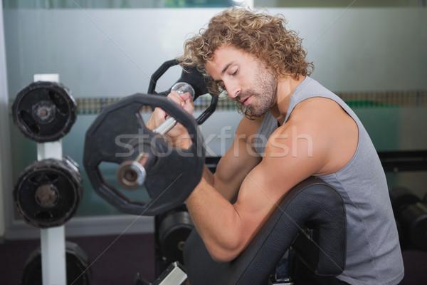 вид сбоку мышечный человека штанга спортзал Сток-фото © wavebreak_media