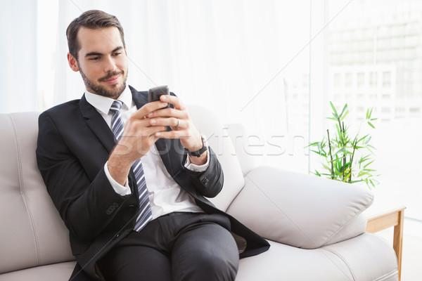 üzletember küldés szöveg kanapé otthon nappali Stock fotó © wavebreak_media