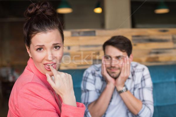 Fiatal pér randevú kávézó lány boldog női Stock fotó © wavebreak_media