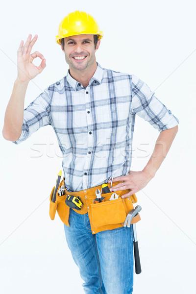 Ezermester gesztikulál ok felirat portré boldog Stock fotó © wavebreak_media
