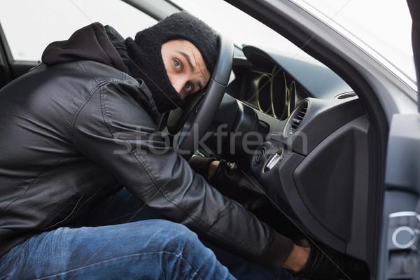 Tolvaj autó ajtó férfi biztosítás kesztyű Stock fotó © wavebreak_media