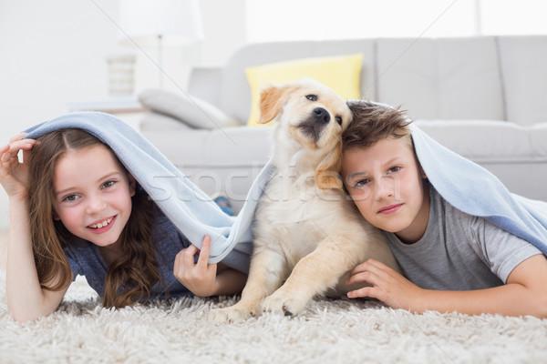 Cute siblings with dog under blanket in living room Stock photo © wavebreak_media