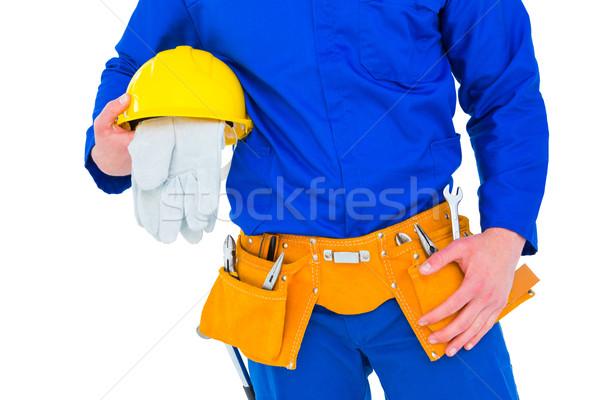 Handyman capacete branco homem azul Foto stock © wavebreak_media