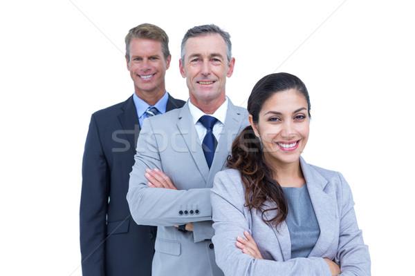 Feliz equipe de negócios em pé linha branco tela Foto stock © wavebreak_media