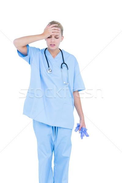 Sarışın kadın doktor bunalımlı beyaz duvar Stok fotoğraf © wavebreak_media