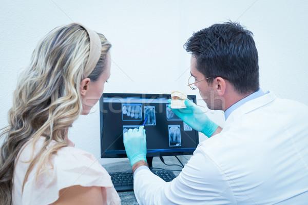 стоматолога женщину протез зубов вид сбоку Сток-фото © wavebreak_media