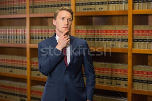 Zdjęcia stock: Przystojny · adwokat · prawa · biblioteki · uczelni · książki