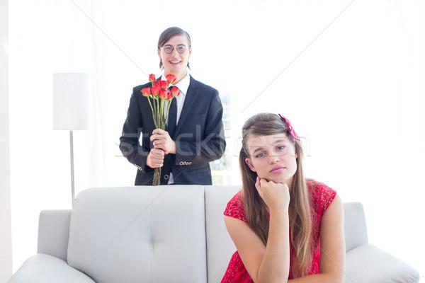 Casal sala de estar casa flor homem empresário Foto stock © wavebreak_media