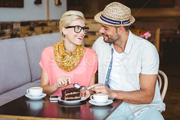 Cute пару дата еды кусок Сток-фото © wavebreak_media