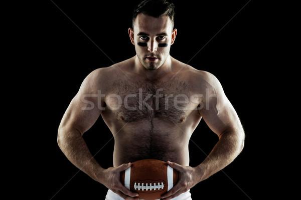 Stockfoto: Shirtless · amerikaanse · voetballer · bal · zwarte · sport