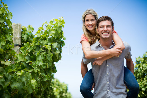 Happy couple piggybacking at vineyard against blue sky Stock photo © wavebreak_media