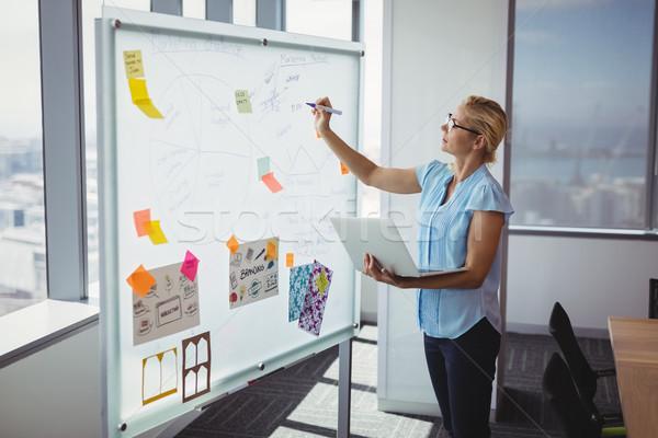 Aandachtig uitvoerende schrijven kantoor vrouw Stockfoto © wavebreak_media