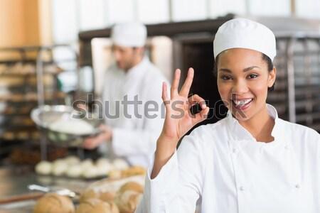 Kobiet kucharz patrząc celu listy handlowych Zdjęcia stock © wavebreak_media