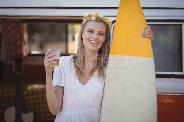 Portre kadın bira cam sörf Stok fotoğraf © wavebreak_media