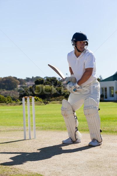 Cricket player batting on pitch against clear sky Stock photo © wavebreak_media