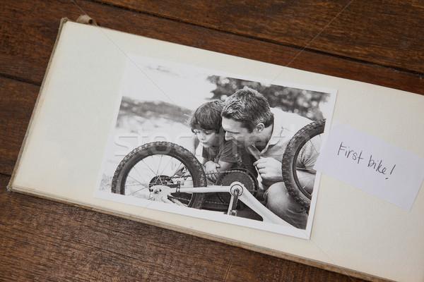 Photo frame on wooden plank Stock photo © wavebreak_media