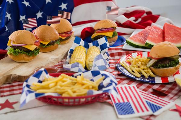 Desayuno bandera de Estados Unidos mantel cuarto alimentos madera Foto stock © wavebreak_media
