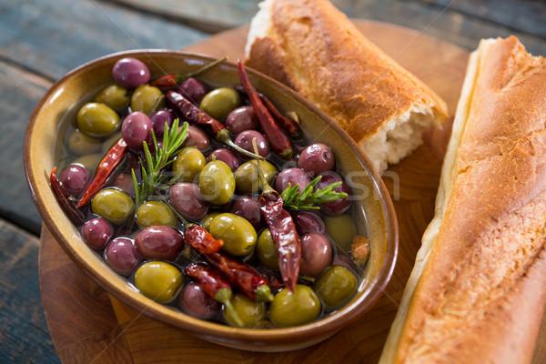 Pickled olives with bread Stock photo © wavebreak_media
