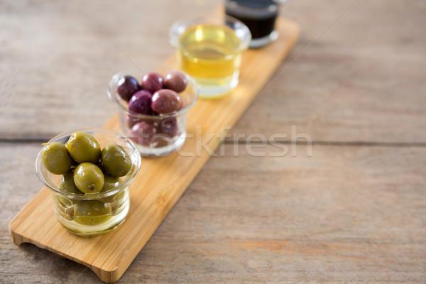 Gemarineerd olijven olijfolie balsamico azijn glas container Stockfoto © wavebreak_media