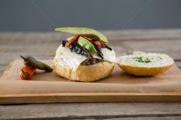 Ingrédients planche à découper papier table viande Photo stock © wavebreak_media
