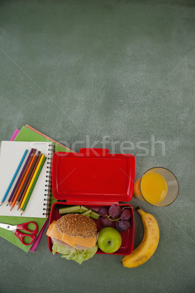 School supplies and lunch box arranged on chalkboard Stock photo © wavebreak_media