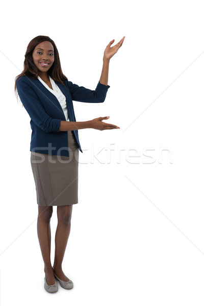 портрет деловая женщина презентация белый Сток-фото © wavebreak_media