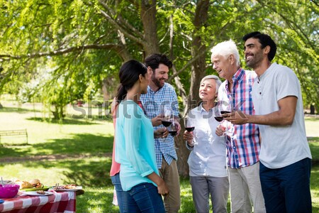 Friends interacting while having glass of wine in restaurant Stock photo © wavebreak_media