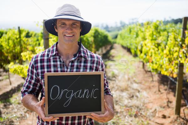 Portrait of happy man holding slate with text in vineyard Stock photo © wavebreak_media