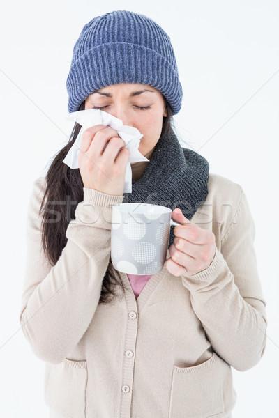 Сток-фото: больным · брюнетка · сморкании · кружка · белый