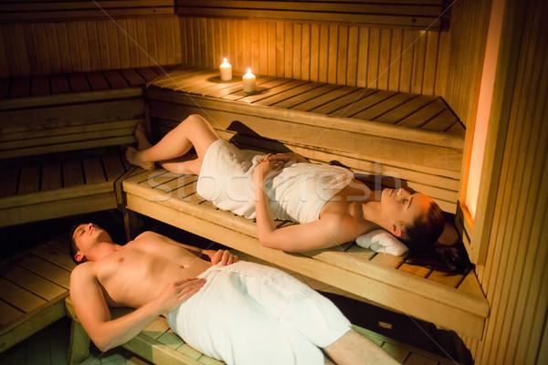 Pár megnyugtató szauna fürdő nő hotel Stock fotó © wavebreak_media