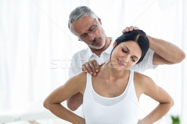 врач физиотерапия беременная женщина дома медицинской Сток-фото © wavebreak_media