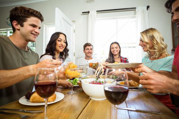 快樂 朋友 午餐 表 房子 食品 商業照片 © wavebreak_media