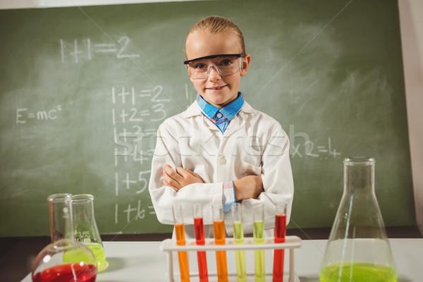 Menina cientista escolas feliz criança sala de aula Foto stock © wavebreak_media