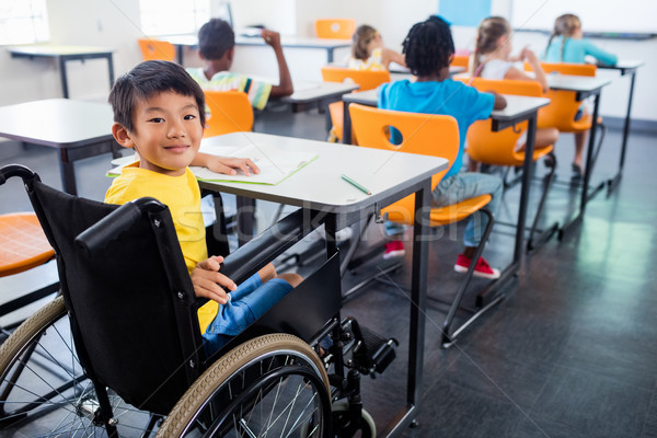 A cute people in wheel chair looking at the camera Stock photo © wavebreak_media