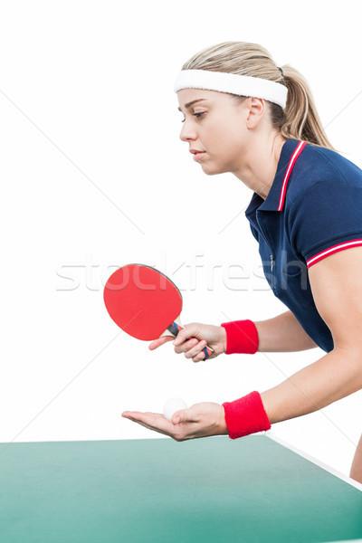 Vrouwelijke atleet spelen ping pong witte vrouw Stockfoto © wavebreak_media