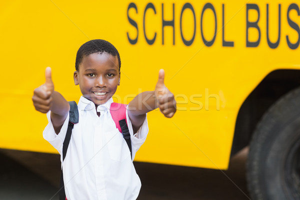 Souriant écolier bus scolaire portrait Photo stock © wavebreak_media