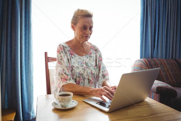 Retrato concentrado altos mujer usando la computadora portátil Foto stock © wavebreak_media
