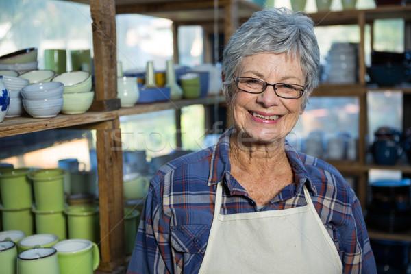 Vrouwelijke permanente aardewerk workshop gelukkig business Stockfoto © wavebreak_media